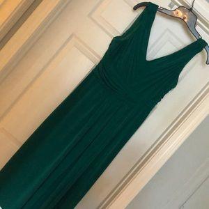 Emerald Green Faux Wrap Dress